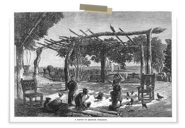 Rancho paraguayo al inicio de la guerra - grabado 1865