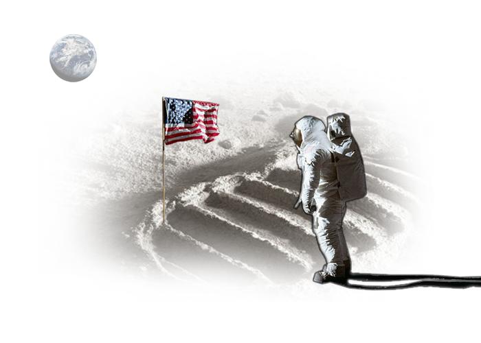 Volver la mirada al cielo, astronauta en la luna y bandera de estados unidos